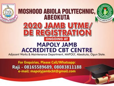 2020 UTME/DE Registration Ongoing at  MAPOLY JAMB Accredited CBT Centre